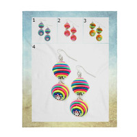 Multi-Color Double Thread Bon Bon Style Ball Earrings, Thread Ball Earrings, Double Ball Drop Earrings