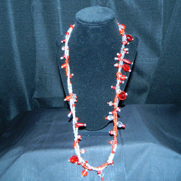 Multi Twisted Strand  Statement  Style Necklace, Red and Clear Glass Seed Beads