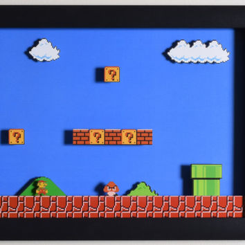 "Super Mario Bros (NES) - ""1-1"" 3D Video Game Shadow Box with Glass Frame"