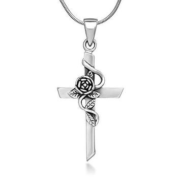 SHIP BY USPS: 925 Oxidized Sterling Silver Vintage Rose Vine with Leaf Cross Pendant Necklace, 18 inches