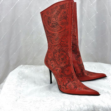 Vero Cuoio Italian leather boots size 9.5 Italian size 40 red leather cut out pointy toe stiletto boots red high heel boots SunnyBohoVintage