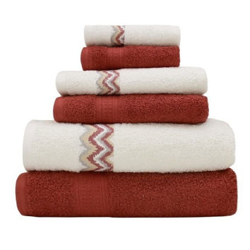 6 Piece 100% Cotton Towel Set w/Chevron Border