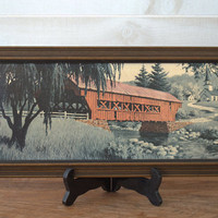 Mid Century Framed Wall Art, Primitive Covered Bridge Print, Landscape Artwork