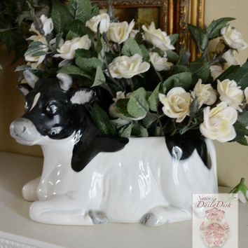 Vintage Country French Black & White Resting Bull / Cow Figurine Planter