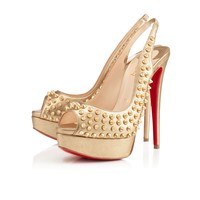 LADY PEEP SLING SPIKES, MEKONG/GOLD SATINE, Specchio/Laminato, Louboutin, Women Shoes