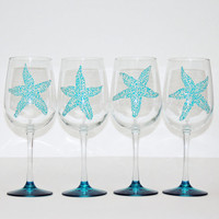 Sea star - Startfish wine glasses - Set of 4 hand painted glasses