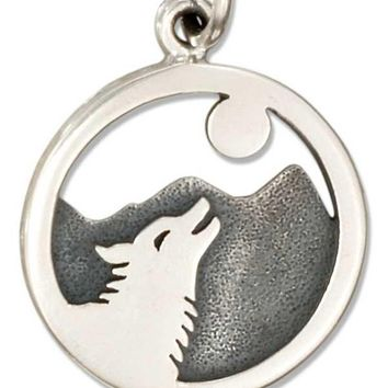 Sterling Silver Round Wolf Howling At The Moon Charm