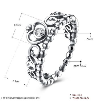 STYLEDOME Sterling Silver Heart shaped crown diamond Ring