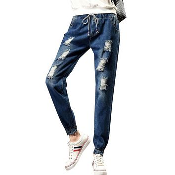 2017 New Drawstring Elastic Waist Jeans Washed Color Ripped Harem Pants Big Size S-5XL Pantalones Loose Denim Women Trousers