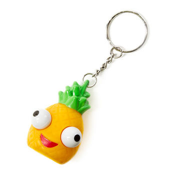Rubber Pineapple with Pop Out Eyes Keychain