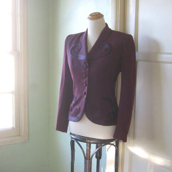 Late 1940s-Early 1950s Form Fitting Burgundy Red Jacket - Purple Thread-Embellished Burgundy Jacket; Medium - Shoulder Pads; Forstmann Wool