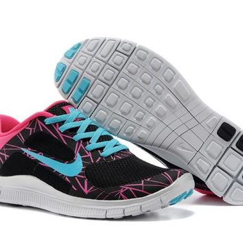 Women's Nike Free 4.0 V3 Print Shoes Dodger Blue/Bright Pink/Coal Black
