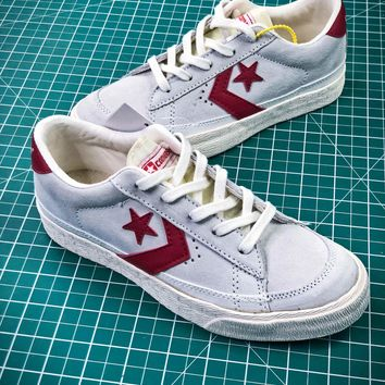 Converse Canvas Chevronstar Ox Grey White Red Shoes - Best Online Sale
