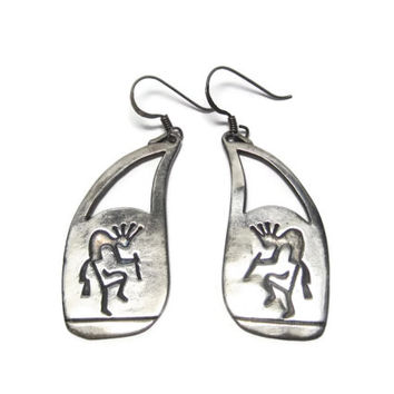 Vintage Sterling Kokopelli Dangle Earrings