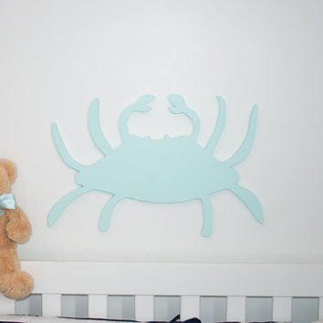 Aqua blue crab nautical nursery sea creatures nursery nautical home beach house decor cottage decor sea creatures