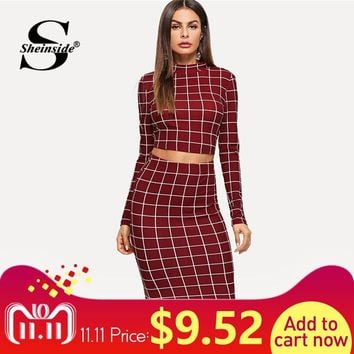 Sheinside Plaid Burgundy Long Sleeve Stand Collar Crop Top and Midi Skirt Elegant Two Piece Set Women Autumn Office Ladies Suits
