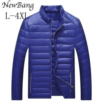 NewBang Men's Ultra Light Down Jacket Male Casual Stand Collar Duck Down Coat Feather Lager Size Jackets 4 Colors