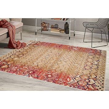 2214 Beige Distressed Moroccan Oriental Area Rugs