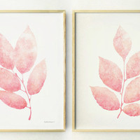 Pink leaves print set, Girls nursery decor, Light pink Nursery wall prints, Pastel wall prints, Teen girls room decor, 11x14 Cute prints DIY