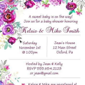 Purple Floral Baby or Bridal Shower and Birthday Party Invitations