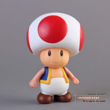 Free Shipping Super Mario Bros Mushroom Toad PVC Action Figure Model Toy SMFG229
