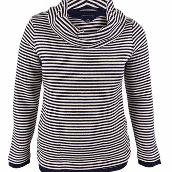 Tommy Hilfiger Women's Striped Cowl Neck Pullover Sweater