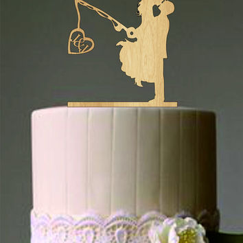 Unique Wedding Cake Topper, Wedding Couple Fishing Pole Heart, Rustic Cake Topper, Custom Personalized Wedding Cake Topper, Funny Cake