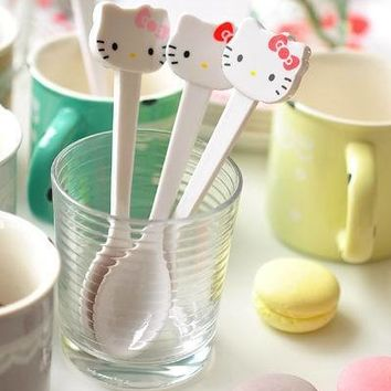 1 Piece New Lovely Hello Kitty Cup Spoon Tea Coffee Ice Cream Scoop Dipper