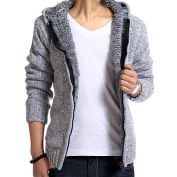 Winter Warm Sweater For Men Velvet Sweater Coat Hooded Zipper Knitted Outwear Casual Pocket Cardigan Male Thickening Wool Jacket