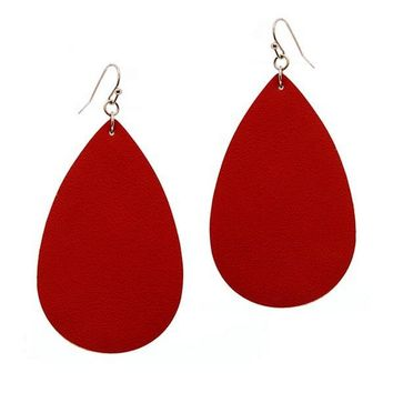 Tear Drop Leather Earring, Red