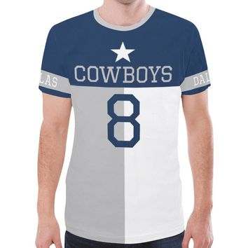 Dallas Football #8 State of Texas Flag Men's Mesh Jersey T-Shirt