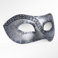Handpainted Metallic Silver Masquerade Mask - Antique Silver Venetian Mask With Studs For Men