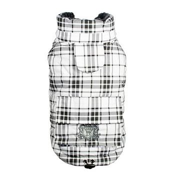 Plaid Shearling Puffer Dog Vest by Hip Doggie - White