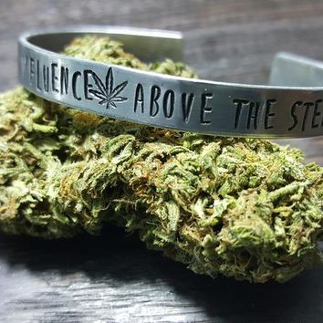 Under the Influence, Above the Stereotype Hand Stamped Aluminum Cuff