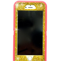 iPhone 6 Plus OtterBox Defender Series Case Glitter Cute Sparkly Bling Defender Series Custom Case  Deep pink / yellow gold