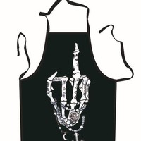 Skeleton Middle Finger Halloween Cooking Apron
