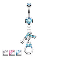 Pistol Handcuff Crystal Accented Dangle Belly Ring