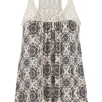 tank in medallion print with lace