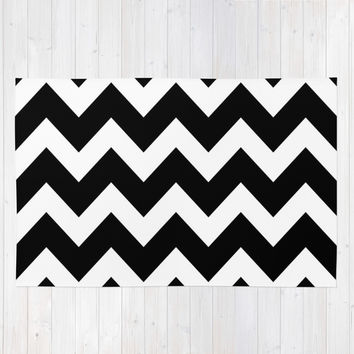 Chevron Black & White Area & Throw Rug by BeautifulHomes | Society6