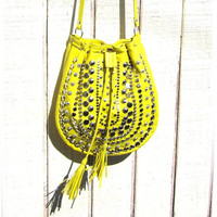 Neon yellow lamb skin studded cross body purse