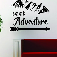Seek Adventure Mountains Arrow Design Decal Sticker Wall Vinyl Art Decor Travel