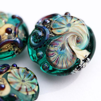 Glass Lampwork SRA beads set in ocean teal green with by MayaHoney