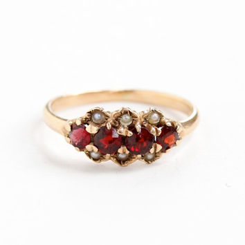 Antique Victorian 10k Rose Gold Garnet & Seed Pearl Ring Band - Size 4 3/4 Red Gemstones Fine Etruscan Revival Jewelry
