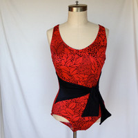 Cute Red and Black Vintage One Piece Swimsuit / Size 10 / Scoop Back / by SUN CLUB