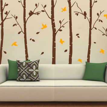 Vinyl Wall Sticker with Big Trees and  Birds for Living or Baby Room, Officer Decor Removable Art Decal DIY! Free shipping!
