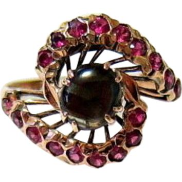 Antique 10KT Rosy Gold Black Star Sapphire Ruby Snake Ring
