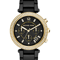 Michael Kors Women's Chronograph Parker Black Ion-Plated Stainless Steel Bracelet Watch 39mm MK6107 - A Macy's Exclusive