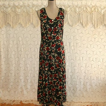 90s Black Floral Grunge Sleeveless Summer Dress Maxi Button Up Long Dress Boho Sundress Red Roses Floral Print 1990s Womens Vintage Clothing