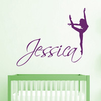 Name Wall Decal Girl Personalized Name Stickers Gymnast Vinyl Decals Sport Art Mural Home Bedroom Decor Interior Design Nursery Decor KY15