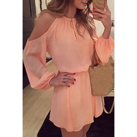 Endearing Solid Color Shoulder Hollow Out Back Slit Dress For Women   Kitty's Clawset